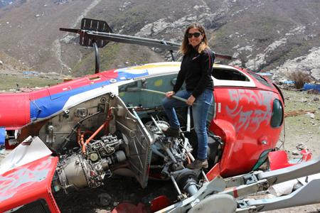Valle de LangTang con elicoptero accidentado por el terremoto 2014