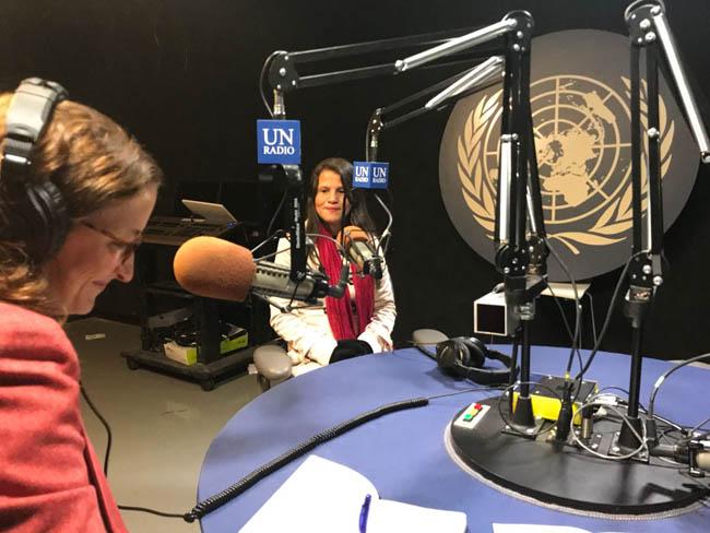Jessica, durante una entrevista con Radio ONU