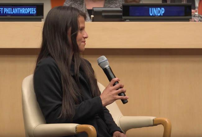 Jessica, en su intervención durante el evento en Naciones Unidas organizado por la FMBBVA